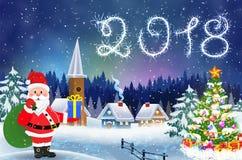 Dom w śnieżnym boże narodzenie krajobrazie przy nocą Obrazy Stock