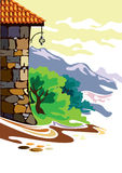 Dom w górach barwić royalty ilustracja