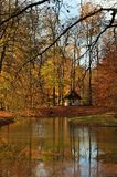 Dom w jesień lesie obraz stock