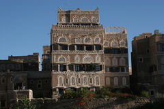 Dom w Sanaa, Jemen, Środkowy Wschód zdjęcie royalty free