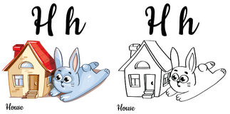 Dom Wektorowy abecadło list H, barwi stronę Zdjęcie Stock