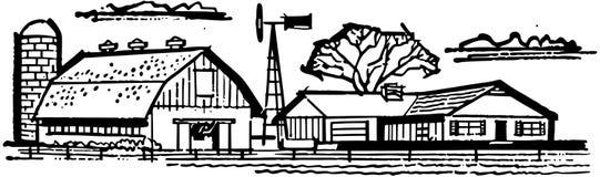 Dom wiejski i stajnia ilustracja wektor
