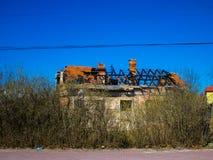 Dom z burnt dachem Zdjęcia Royalty Free