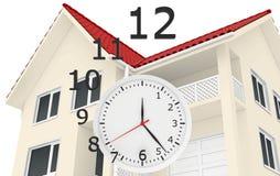 Dom z czerwieni dachowych i zegarowych liczb latać Obrazy Royalty Free