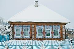 Dom z drewnianym projektem Fotografia Stock