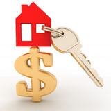 Dom z kluczem na dolarowym znaku Zdjęcie Stock