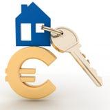 Dom z kluczem na euro znaku Obraz Stock
