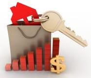 Dom z kluczem w papierowej torbie i diagramie Zdjęcia Stock