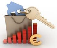 Dom z kluczem w papierowej torbie i diagramie Fotografia Stock