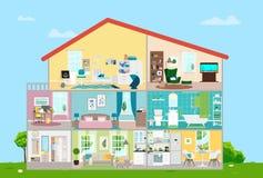 Dom z meblowaniami Osiem pokojów z meble Wektorowa płaska ilustracja Zdjęcia Royalty Free