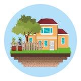 dom z płotowym drzewo ogródem ilustracji