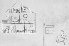 Dom z widokiem wśrodku pokojów myśleć o nim ne osoby i Zdjęcie Stock