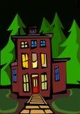 Dom z zielonymi drzewami i krzakami Zdjęcie Royalty Free