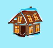 Dom zakrywający z śniegiem na błękitnym tle royalty ilustracja