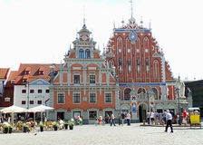 Dom zaskórniki, UNESCO światowego dziedzictwa miejsce w Dziejowym centrum Ryski Zdjęcie Stock