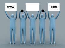 Domain advertising. 3d people holding an empty template of a domain for you to use as you like stock illustration