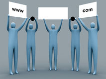 Domain advertising. 3d people holding an empty template of a domain for you to use as you like vector illustration
