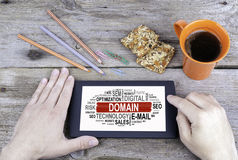 DOMAIN , Business concept. Old wooden office desk Royalty Free Stock Photography