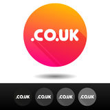 Domain CO UK sign buttons. 5 Icons Vector top-level internet domain symbols. stock illustration