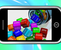 Domain Dices On Smartphone Showing Random Browsing Royalty Free Stock Photos