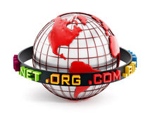 Domain extensions around the red globe. 3D illustration Royalty Free Stock Images