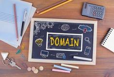 Domain Homepage HTML Web Design Concept. Chalkboard on wooden of stock illustration