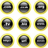 Domain icons. Set of domain name internet icons on black glossy buttons isolated on white