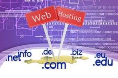 Domain Name ed illustrazione di concetto di web hosting Fotografia Stock Libera da Diritti