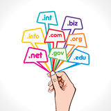 Domain name in hand Stock Photography