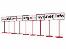 Domain Name popolari, concetto di Internet Fotografie Stock
