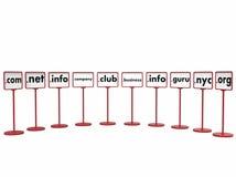 Domain Name popolari, concetto di Internet Immagine Stock