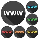 Domain Name Registration www button Icons set with long shadow. Vector icon Stock Photos