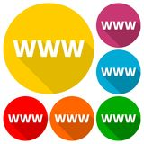 Domain Name Registration www button Icons set with long shadow. Vector icon Royalty Free Stock Image