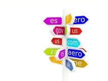 Domain name signs Stock Photos