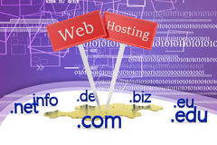 Domain Name y ejemplo del concepto del web hosting Fotografía de archivo libre de regalías