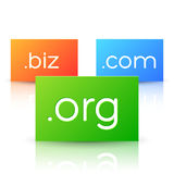 Domain Names on Colorful Paper Cards Stock Images