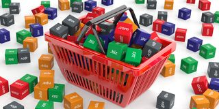 Domain names cubes in a shopping basket. 3d illustration Stock Images