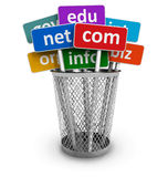 Domain names and internet concept. Signs with internet domain names in metal bucket isolated on white backround