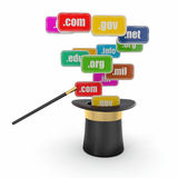 Domain names on signboards and magic hat Stock Photo