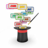 Domain names on signboards and magic hat Stock Photography