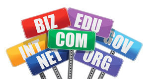 Domain names signs internet Stock Illustration