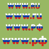 Domain of Russia. Flat vector russian national top-level domain extension with Russian flag colors Royalty Free Stock Photos