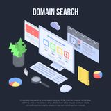 Domain search concept banner, isometric style. Domain search concept banner. Isometric illustration of domain search vector concept banner for web design stock illustration