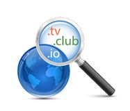 Domain search vector icon. Domain search tool. .io .tv .club domain finder Stock Photography