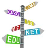 Domain signpost. Signpost with various kinds of domains Royalty Free Stock Photo