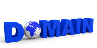 DOMAIN text. DOMAIN text, earth globe replace O letter. 3D illustration Stock Photos