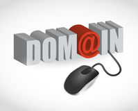 Domain text sign and mouse illustration Royalty Free Stock Photo
