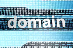Domain. The word domain in front of a binary background Royalty Free Stock Photography