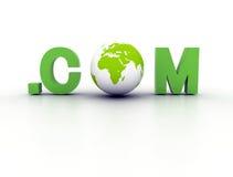 Domain world com. Domain .com with green earth globe Royalty Free Stock Photo