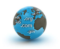 Domain zones on globe Stock Photography